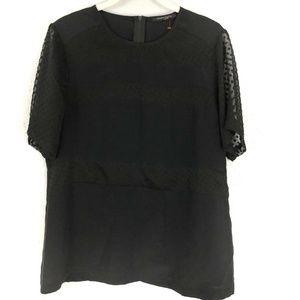 Nanette Lepore Blouse Black Sheer Silk Textured